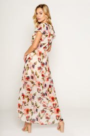 FLORAL PRINTED SHORT SLEEVE WRAP MAXI DRESS