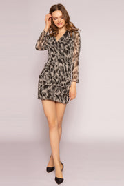 Olive Prairie Cheetah Mini Dress by Lavender Brown 001