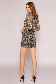 Olive Prairie Cheetah Mini Dress by Lavender Brown 002