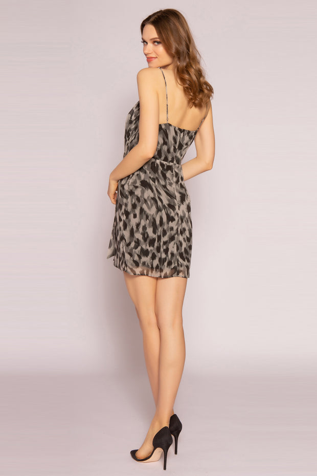Olive Tie Waist Cheetah Mini Dress by Lavender Brown 002