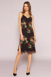 Black Floral Midi Slip Dress by Lavender Brown 001