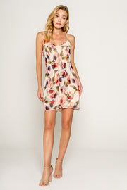 FLORAL PRINTED SPAGHETTI STRAP WRAP MINI DRESS