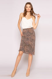 Brown Cheetah Mid Length Skirt by Lavender Brown 001