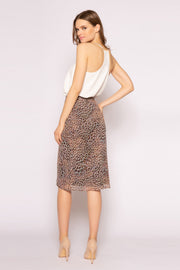 Brown Cheetah Mid Length Skirt by Lavender Brown 002