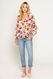 FLORAL PRINTED V NECK TOP WITH RUFFLE SLEEVE