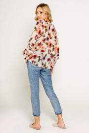 FLORAL PRINTED V NECK TOP WITH RUFFLE SLEEVE-Blouses-Lavender Brown