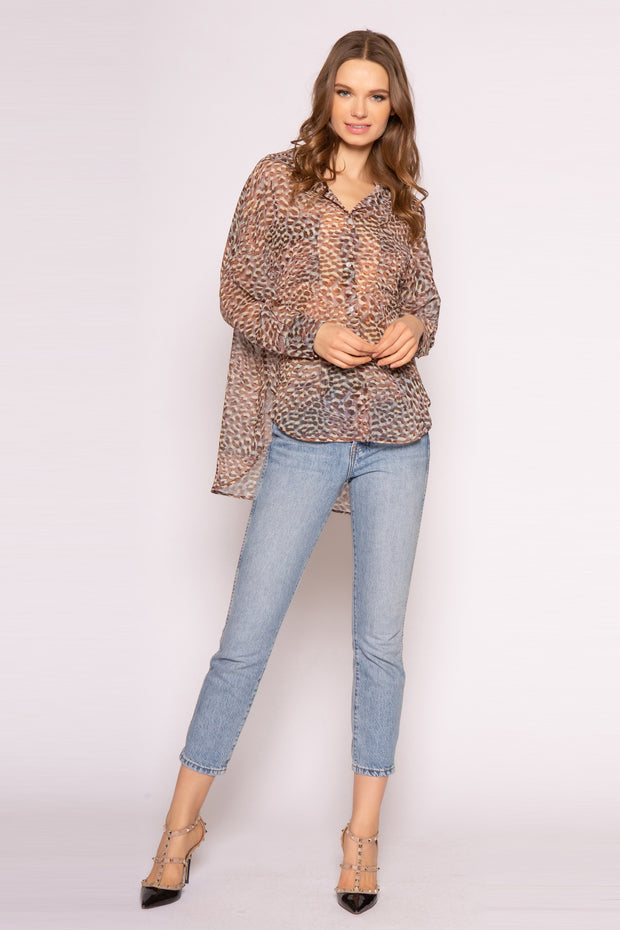 Brown Long Sleeve Cheetah Shirt by Lavender Brown 001