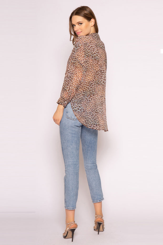 Brown Long Sleeve Cheetah Shirt by Lavender Brown 002