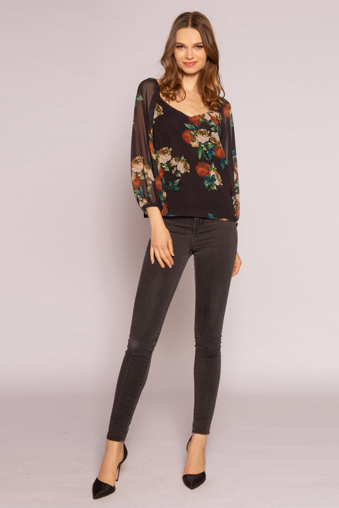 Black Floral Long Sleeve Blouse by Lavender Brown 001