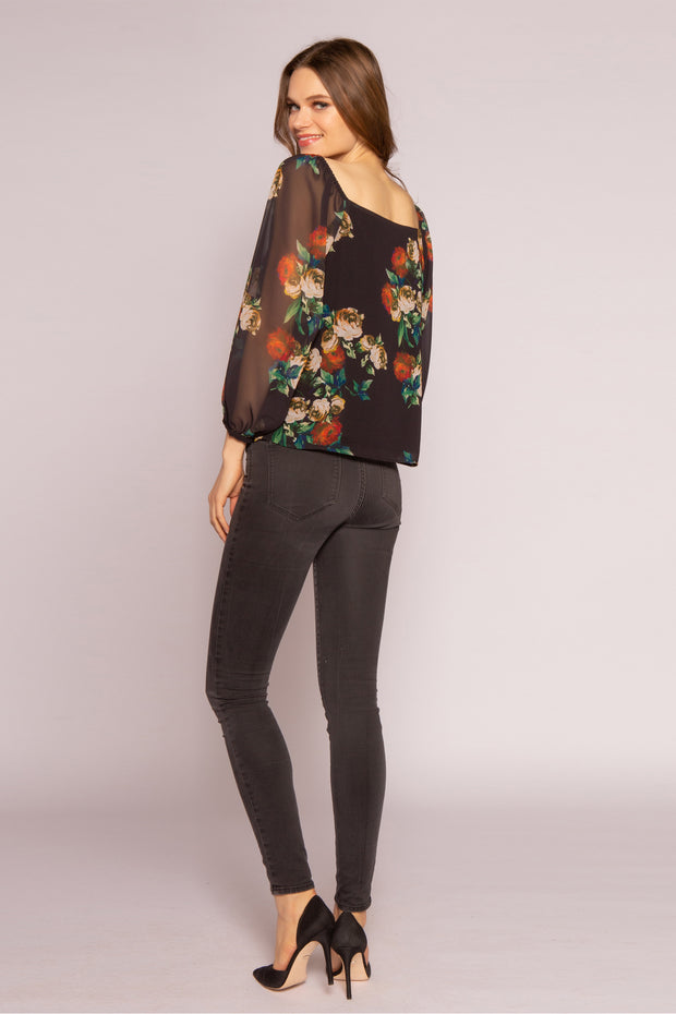 Black Floral Long Sleeve Blouse by Lavender Brown 002