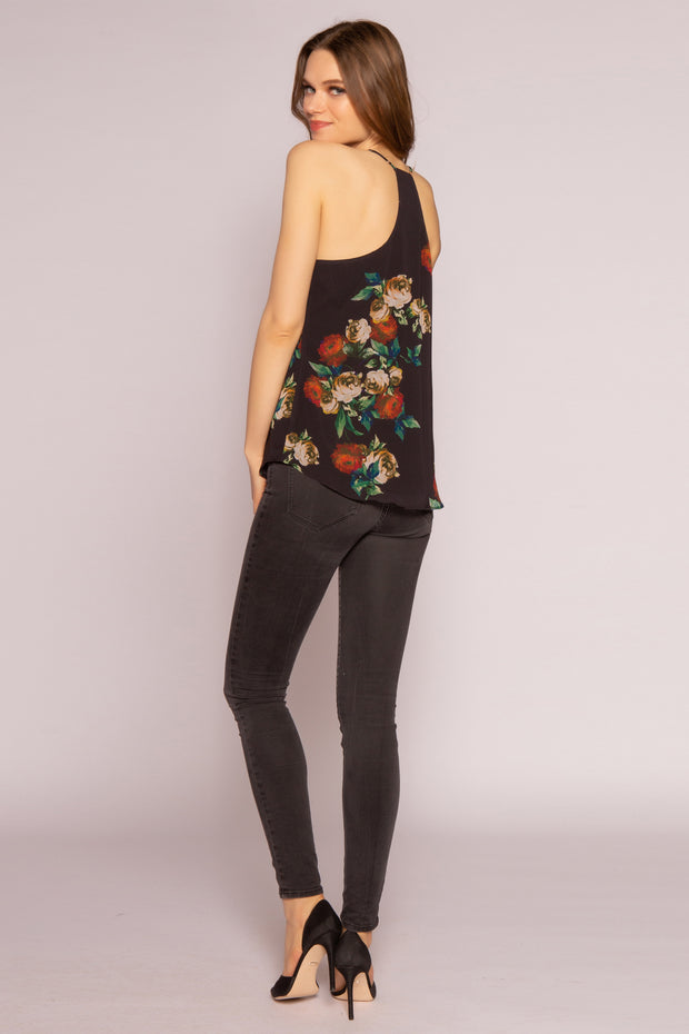 Black Floral Cami Top by Lavender Brown 002