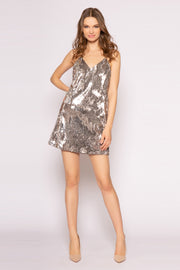 Silver Sleeveless Sequin Mini Dress by Lavender Brown 001