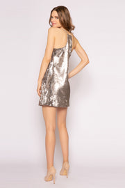 Silver Sleeveless Sequin Mini Dress by Lavender Brown 002