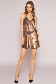 Two-Tone Sequin Mini Slip Dress by Lavender Brown 001