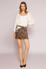 Two-Tone Sequin Mini Skirt by Lavender Brown 001