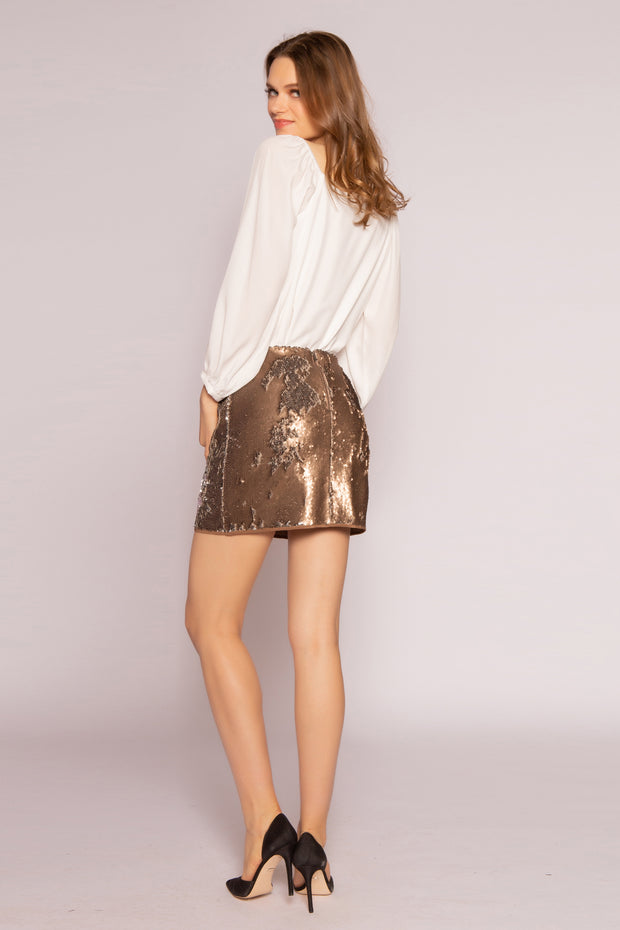 Two-Tone Sequin Mini Skirt by Lavender Brown 002
