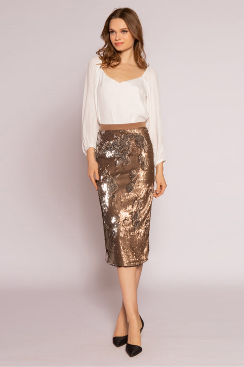 Two-Tone Sequin Midi Skirt by Lavender Brown 001