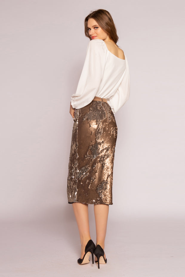 Two-Tone Sequin Midi Skirt by Lavender Brown 002