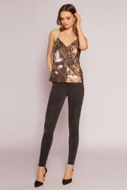 Two-Tone Sequin Cami Top by Lavender Brown 001