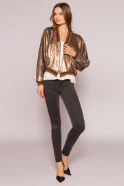 Two-Tone Sequin Blouson Style Jacket by Lavender Brown 001