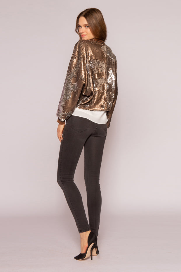 Two-Tone Sequin Blouson Style Jacket by Lavender Brown 002