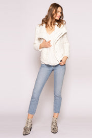 Ivory Asymmetrical Jacket by Lavender Brown 001