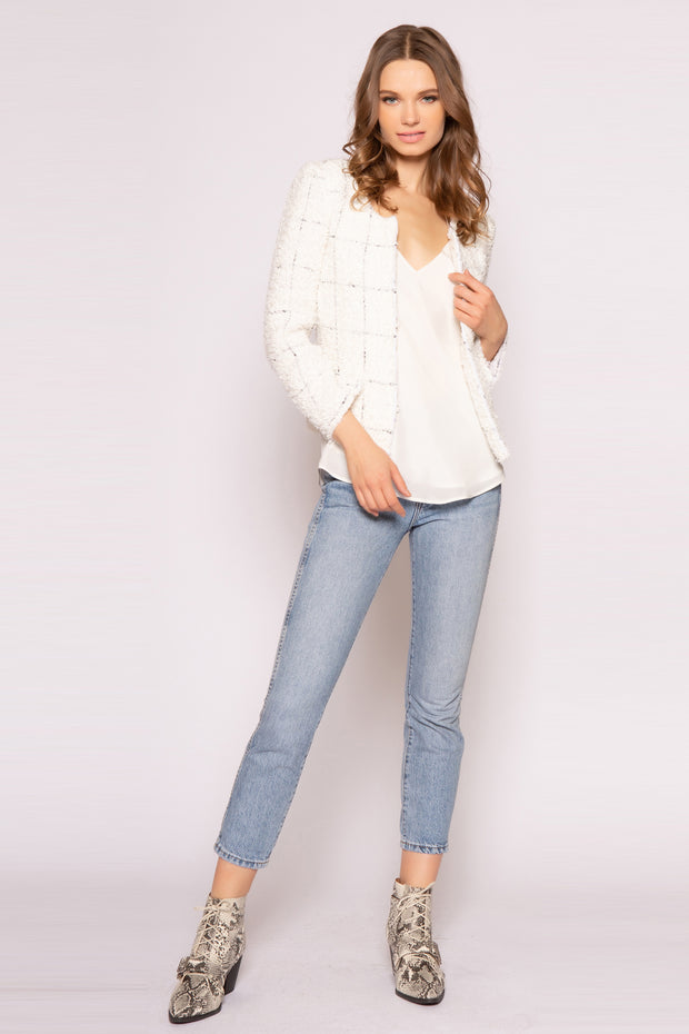 Ivory Open Front Jacket by Lavender Brown 001