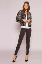 Grey Snow Leopard Faux Fur Blouson Jacket by Lavender Brown 001