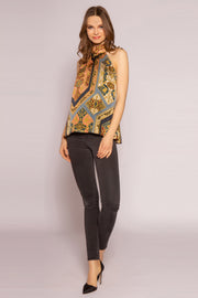 Navy Multi High Neck Charmeuse Top by Lavender Brown 001
