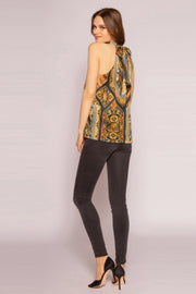 Navy Multi High Neck Charmeuse Top by Lavender Brown 002