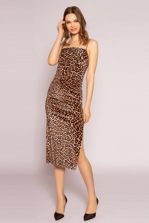 Camel Leopard Midi Dress by Lavender Brown 001