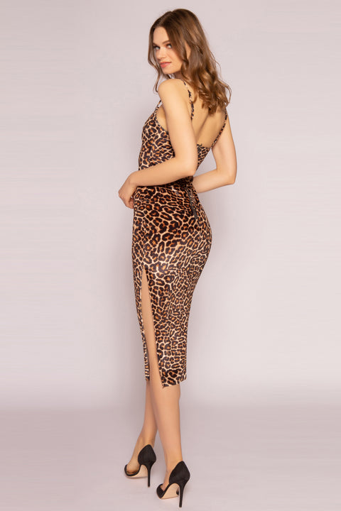 Camel Leopard Midi Dress by Lavender Brown 002