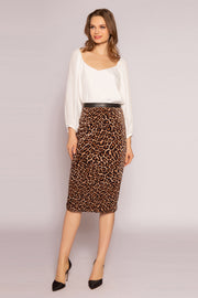 Camel Leopard Straight Skirt by Lavender Brown 001