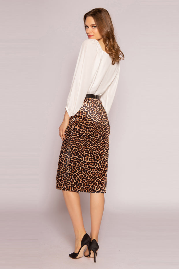 Camel Leopard Straight Skirt by Lavender Brown 002
