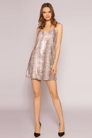 Gold Multi Snakeskin Sequin Mini Slip Dress by Lavender Brown 001