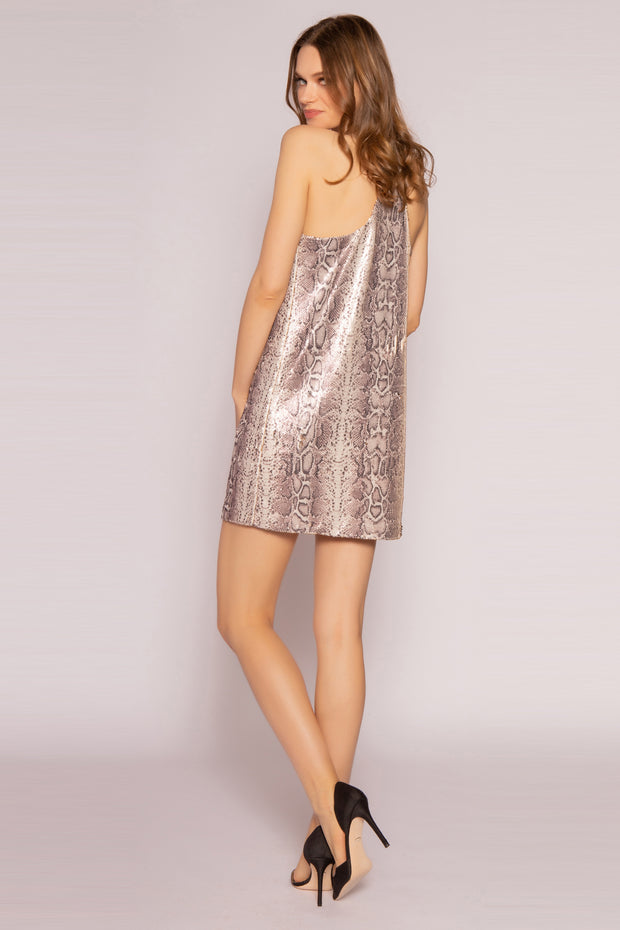 Gold Multi Snakeskin Sequin Mini Slip Dress by Lavender Brown 002