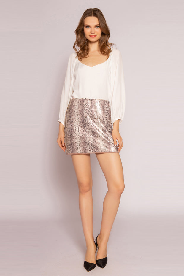 Gold Snakeskin Mini Skirt by Lavender Brown 001