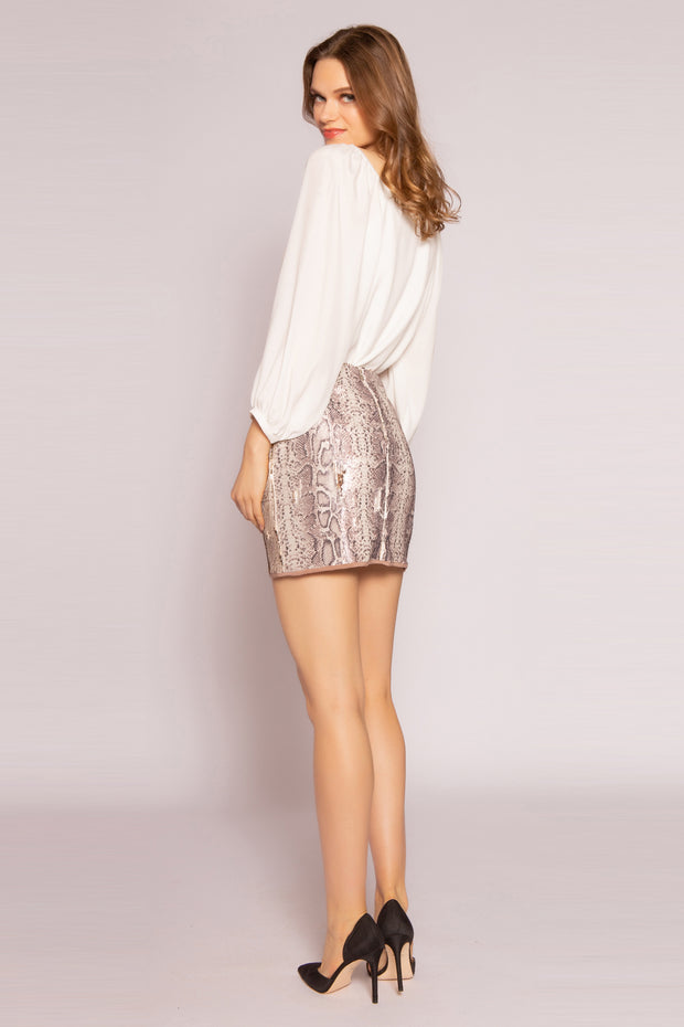 Gold Snakeskin Mini Skirt by Lavender Brown 002