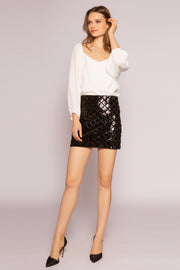 Black Velvet With Sequin Mini Skirt by Lavender Brown 001