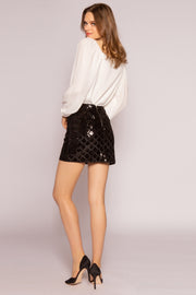Black Velvet With Sequin Mini Skirt by Lavender Brown 002