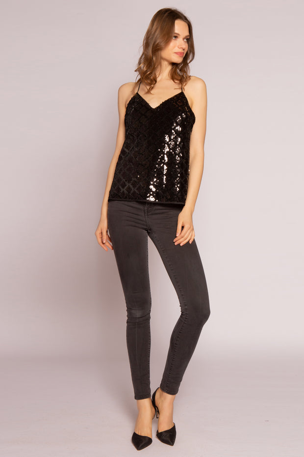 Black Velvet With Sequin Cami Top by Lavender Brown 001