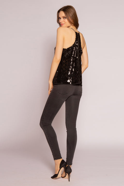 Black Velvet With Sequin Cami Top by Lavender Brown 002