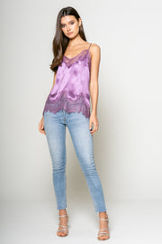 Dusty Violet Silk Lace Detailed Cami 1