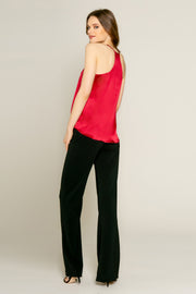 Crimson Racerback Silk Charmeuse Tank by Lavender Brown 002