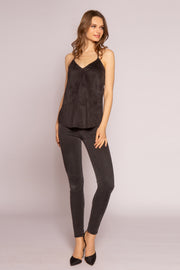 Black Vegan Suede Cami Top by Lavender Brown 001