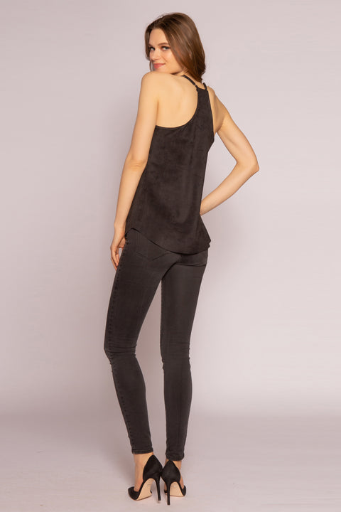 Black Vegan Suede Cami Top by Lavender Brown 002