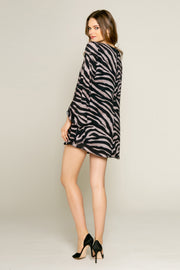Black Zebra Long Sleeve Shift Dress by Lavender Brown 002