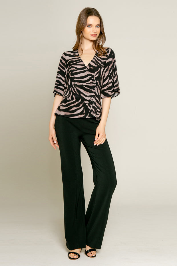 Black Elbow Sleeve Zebra Wrap Top by Lavender Brown 001