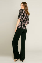 Black Elbow Sleeve Zebra Wrap Top by Lavender Brown 002
