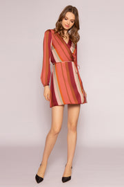 Mauve Striped Long Sleeve Wrap Dress by Lavender Brown 001